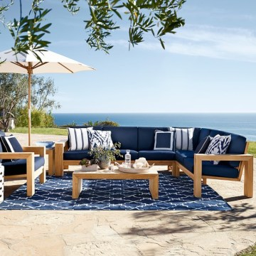 Williams Sonoma Home Outdoor Furniture Sale  Save Up To 30  Outdoor     Williams Sonoma Home Larnaca Outdoor 3 Piece Teak Loveseat Sectional  williams sonoma home