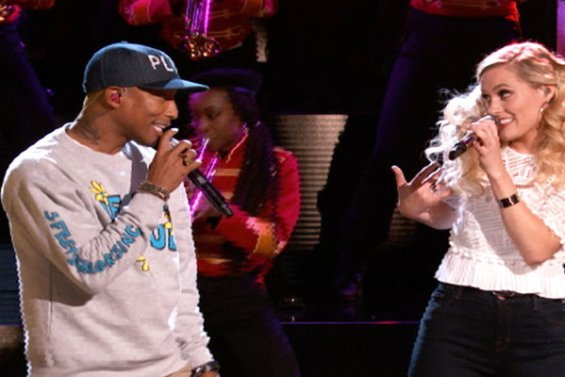 """Watch The Voice Season 10 Live Finale, Part 1 Episode 27: See Hannah Huston and Pharrell Williams perform """"Brand New"""" (Pharrell's hit duet with Justin Timberlake)."""