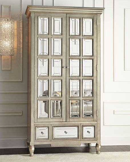 Brielle Mirrored Cabinet Metallic Gray Horchow friends and family sale
