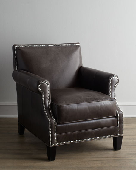 Grand Turk Leather Chair Nailhead Trim Horchow friends and family sale