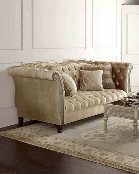 Haute House Leslie Mirrored Tufted Sofa Brown Horchow friends and family sale