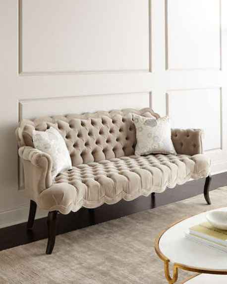 Haute House Rebecca Tufted Sofa Gray Horchow Friends and Family Sale