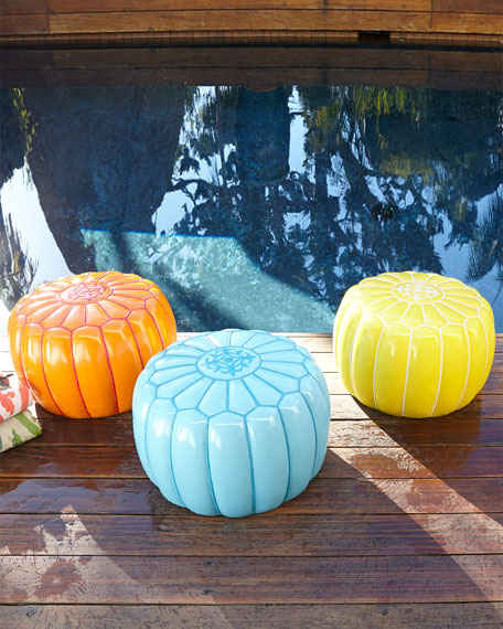 Outdoor Moroccan Pouf Blue Orange Yellow Horchow Friends and Family Sale