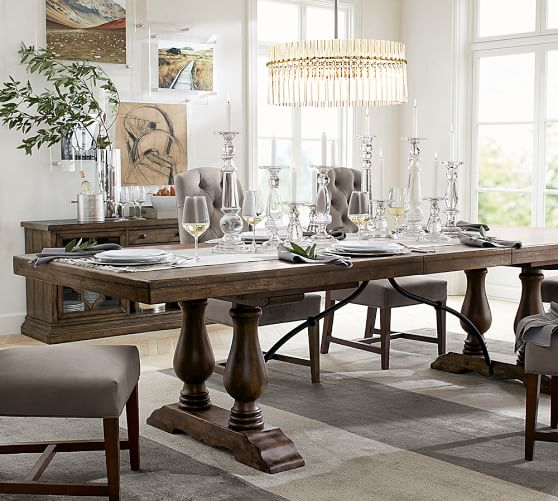 Pottery Barn LORRAINE EXTENDING DINING TABLE Hewn Oak pottery barn dining furniture sale 20% off