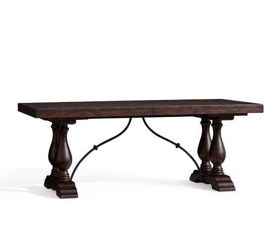 Pottery Barn LORRAINE EXTENDING DINING TABLE Rustic Brown pottery barn dining furniture sale 20% off