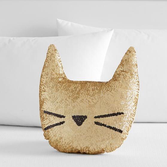 The Emily & Meritt Sequin Cat Pillow Pottery Barn Teen emily & meritt for pottery barn teen collection