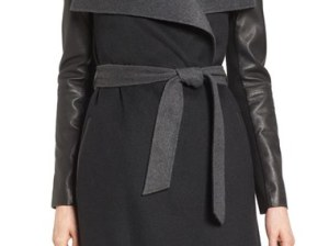 Mackage Leather Sleeve Double Face Wool Blend Wrap Coat Black Charcoal Nordstrom pre-black friday sale