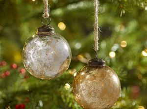 Pottery Barn SILVER & GOLD MERCURY GLASS BALL ORNAMENTS - SET OF 6 pottery barn holiday decorating event sale