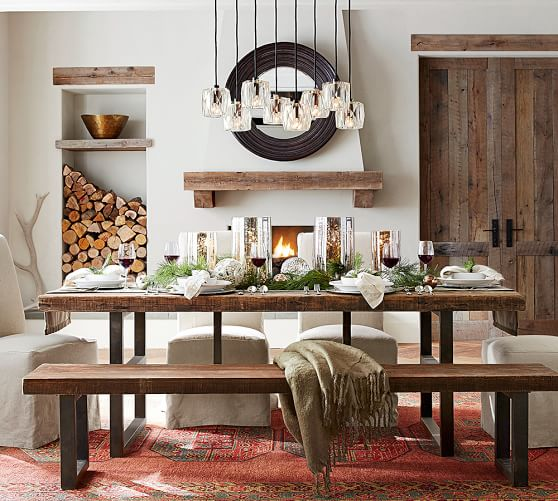 Pottery Barn GRIFFIN RECLAIMED WOOD FIXED DINING TABLE pottery barn flash sale