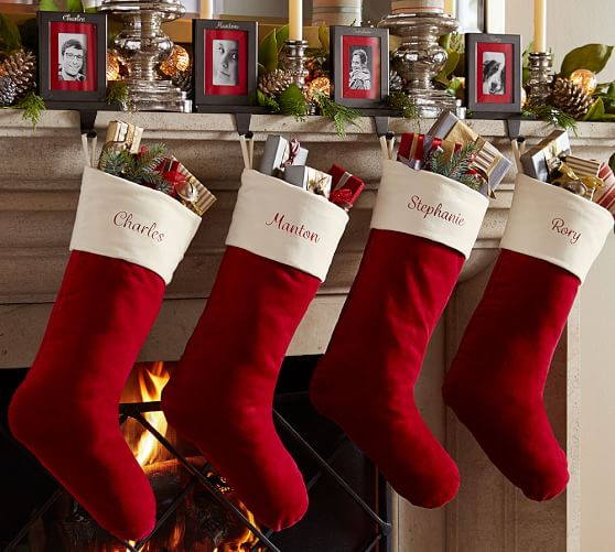 Pottery Barn VELVET STOCKING - RED WITH IVORY CUFF pottery barn flash sale