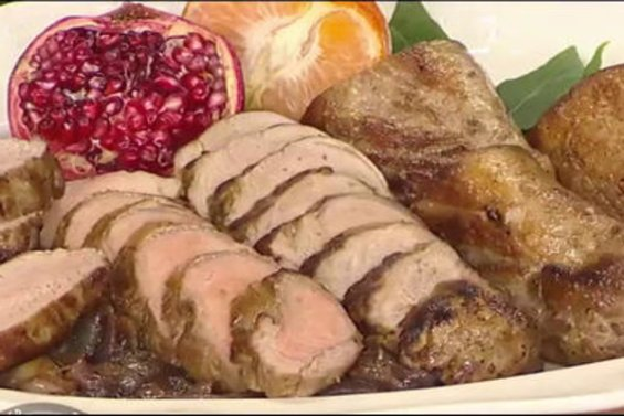 """Watch celebrity chef Lidia Bastianich (of the PBS special """"Lidia Celebrates America: Holiday for Heroes"""") show Hoda Kotb and guest co-host Jane Krakowski how to make delicious pork tenderloin with balsamic onions on the Friday, December 16, 2016 episode of the Today show."""
