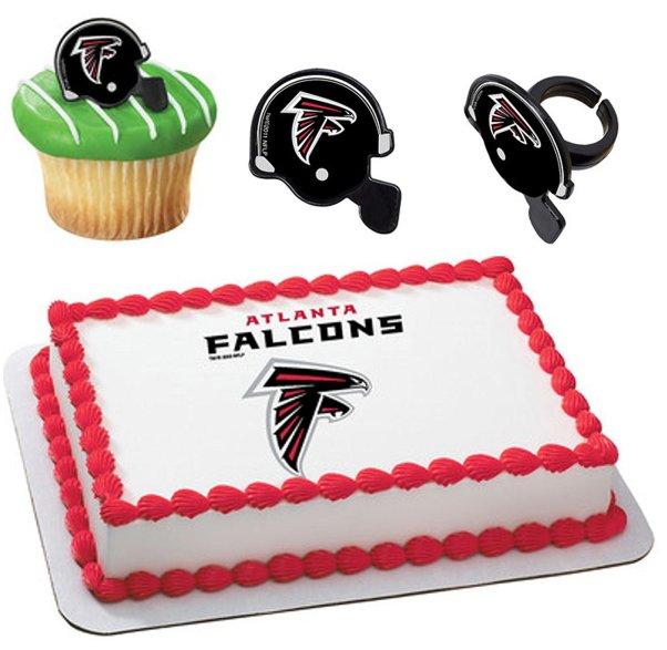 Atlanta Falcons Licensed Edible Wafer Cake Topper & Cupcake Ring Combo atlanta falcons super bowl li party