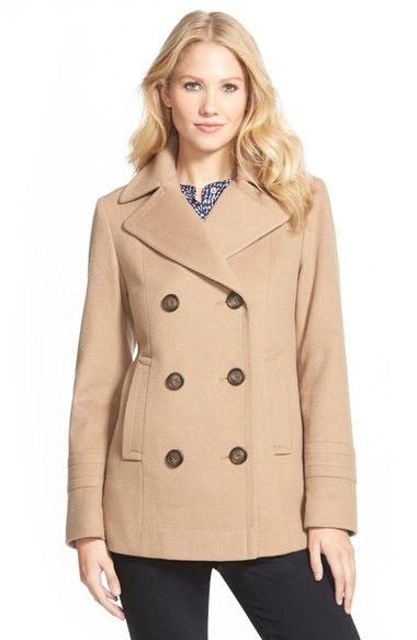 Fleurette Wool Peacoat (Nordstrom Exclusive) Camel double breasted coats