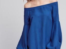 Floreat Poppy Bell Sleeve Off The Shoulder Blouse Sapphire Blue Anthropologie clothing sale