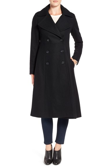 French Connection Long Wool Blend Coat Black double breasted coats