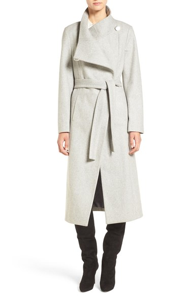 Kenneth Cole New York Wool Blend Maxi Wrap Coat Glacier double breasted coats