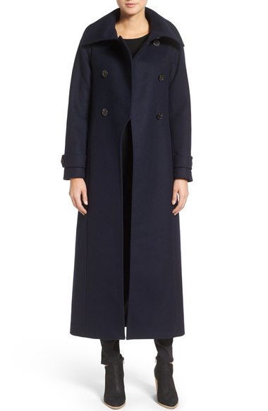Mackage Double Breasted Military Maxi Coat Navy Blue