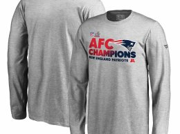 Pro Line by Fanatics Branded New England Patriots Youth Heathered Gray 2016 AFC Conference Champions Trophy Collection Locker Room Long Sleeve T-Shirt