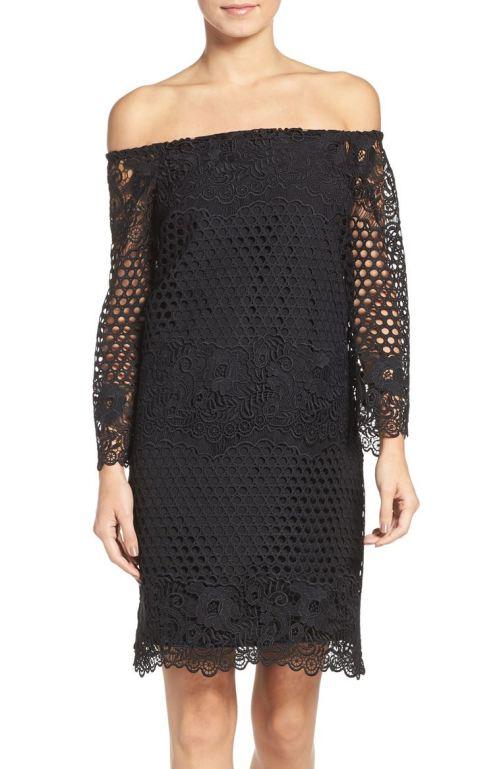 Chelsea28 Lace A-Line Dress Black 2017 Nordstrom winter sale