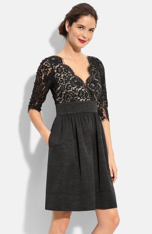 Eliza J Lace & Faille Dress (Regular & Petite) Black Nordstrom winter sale