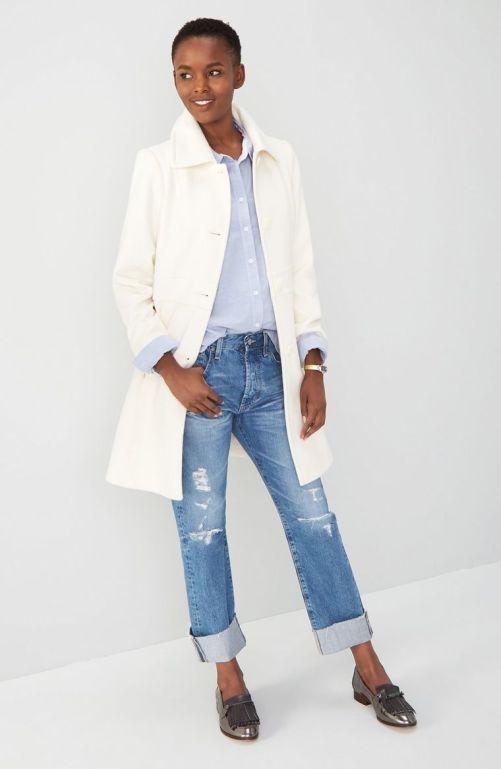 Kristen Blake Wool Blend Walking Coat (Regular & Petite) Winter White 2017 Nordstrom winter sale