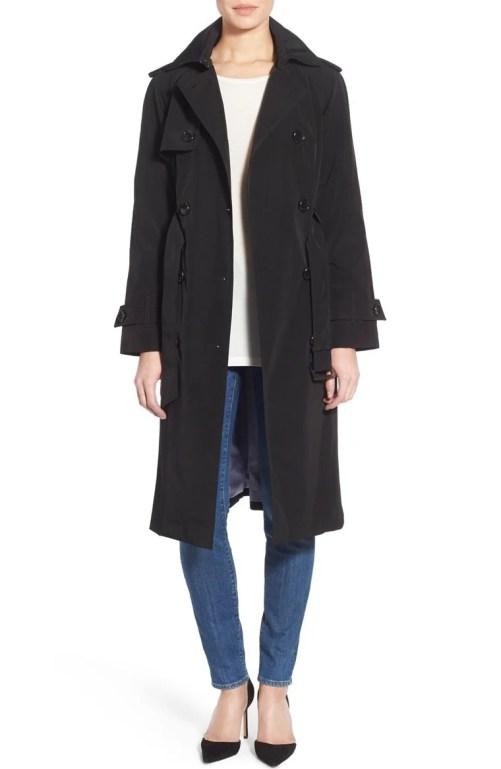 London Fog Double Breasted Trench Coat (Regular & Petite) Black nordstrom winter sale