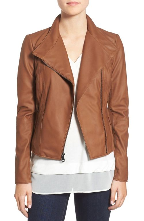 MARC NEW YORK by Andrew Marc 'Felix' Stand Collar Leather Jacket Whiskey 2017 Nordstrom winter sale