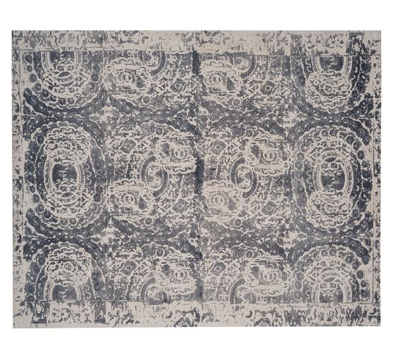 Pottery Barn BOSWORTH PRINTED WOOL RUG - GRAY 2017 pottery barn presidents day premier event
