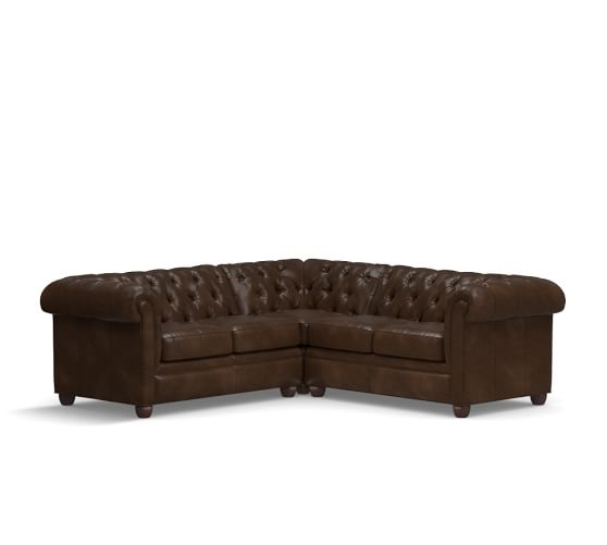 Pottery Barn CHESTERFIELD LEATHER 3-PIECE L-SHAPED SECTIONAL pottery barn presidents day premier event