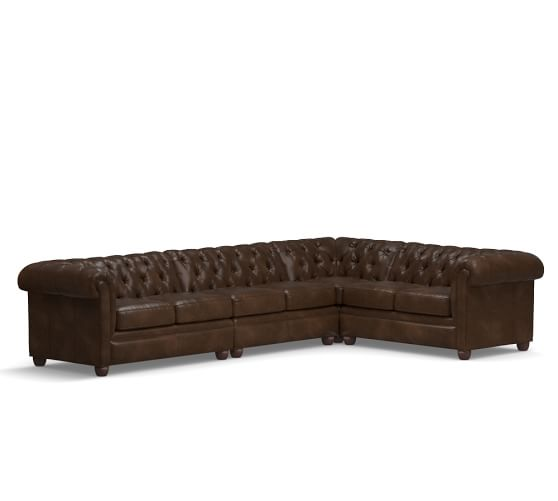 Pottery Barn CHESTERFIELD LEATHER 4-PIECE REVERSIBLE GRAND SECTIONAL pottery barn presidents day Premier Event sale