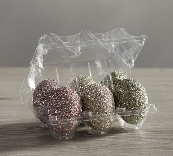 Pottery Barn GERMAN GLITTER EGGS IN CRATE - SET OF 6 pottery barn friends and family sale