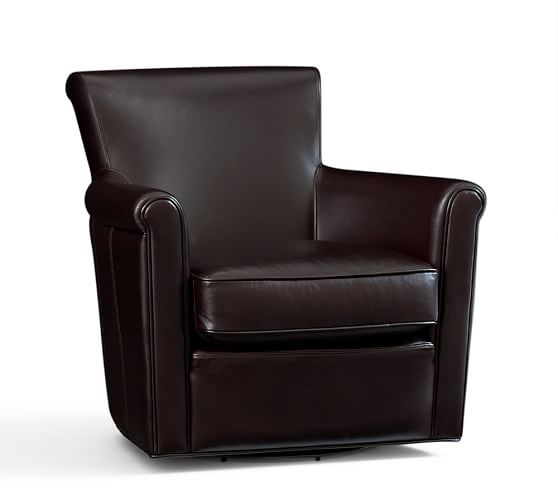 Pottery Barn IRVING LEATHER FURNITURE Swivel Armchair, Storage Ottoman Coffee Leather pottery barn presidents day premier event sale