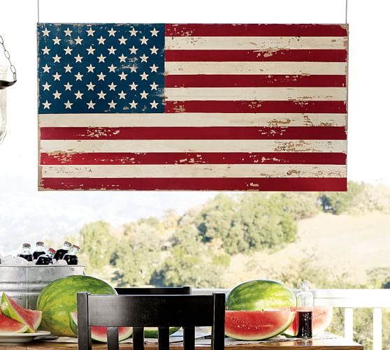 Pottery Barn PAINTED AMERICAN FLAG 2017 pottery barn presidents day premier event sale