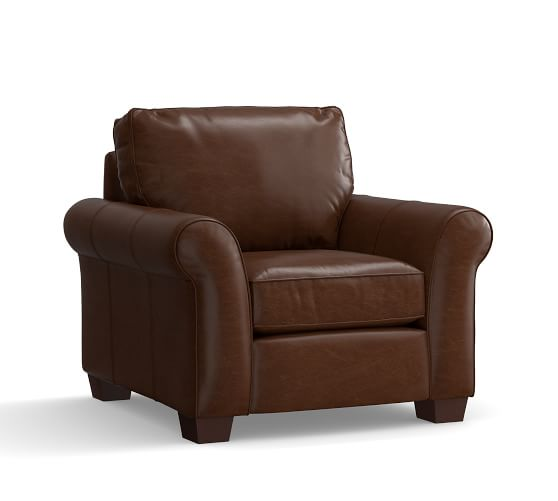 Pottery Barn PB COMFORT ROLL ARM LEATHER ARMCHAIR 2017 pottery barn presidents day premier event sale