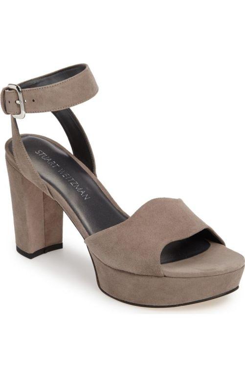 Stuart Weitzman 'Real Deal' Platform Sandal (Women) Topo Suede 2017 Nordstrom winter sale