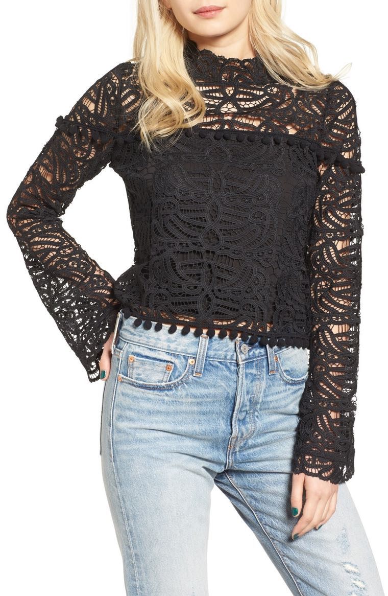 Tularosa Holly Lace Top Onyx Nordstrom winter sale
