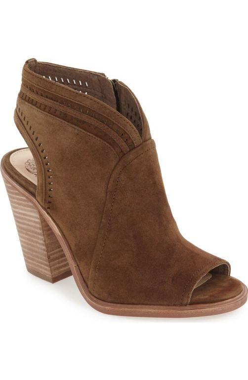 Vince Camuto 'Koral' Perforated Open Toe Bootie (Women) (Nordstrom Exclusive) Wood Suede Nordstrom winter sale