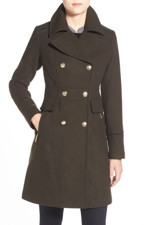 Vince Camuto Wool Blend Double Breasted Officer's Coat Olive 2017 Nordstrom winter sale