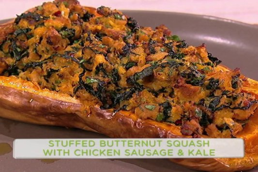 "Watch Clinton Kelly and ""Son of Zorn"" star Cheryl Hines make a healthy, delicious stuffed butternut squash with chicken sausage & kale on the Monday, February 13, 2017 episode of ""The Chew."""