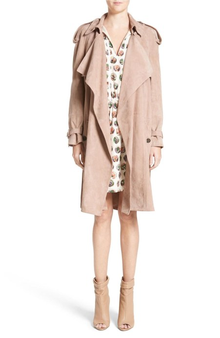 Burberry Sanbridgess Suede Wrap Trench Pale Antique Rose trench coats spring 2017