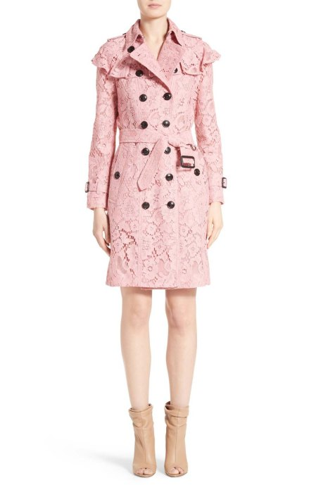 Burberry Stanhill Ruffle Lace Trench Coat Antique Rose trench coats spring 2017 trend