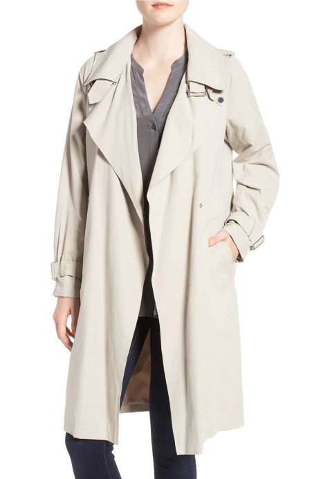 French Connection Drape Front Trench Coat African Stone  trench coats for spring 2017