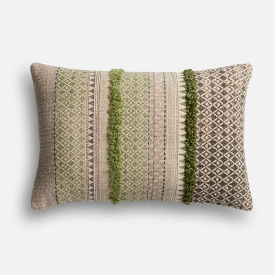 Magnolia Home Norma Sage & Gray Lumbar Pillow Pier 1 magnolia home by joanna gaines for pier 1