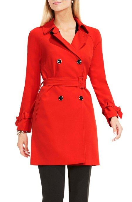 Vince Camuto Belted Double Breasted Trench Coat Dynamic Red trench coats spring 2017