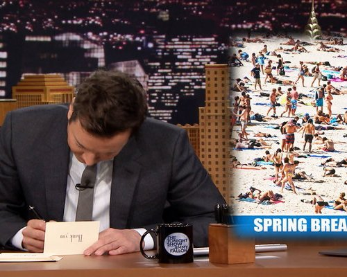 "Watch Jimmy Fallon write thank you notes to spring break, Peyton Manning running for senate, March Madness, Costco, the movies ""Chips"", ""Life"", Chris Christie and more on the Friday, March 24, 2017 episode of the Tonight Show Starring Jimmy Fallon."