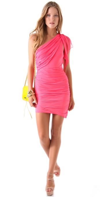 Shopbop Alice + Olivia One Shoulder Drape Dress