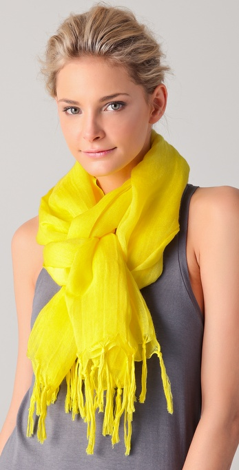 Love Quotes Knotted Tassel Yellow Scarf