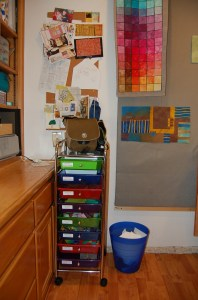 With the addition of one more set of drawers for my fused fabric little bits my studio works very well!
