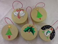Handpainted Christmas Box Decorations