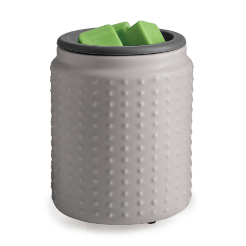 Gray Hobnail Flip Dish Wax Warmer A soft gray matte glaze with a simple hobnail pattern. The Flip Dish Wax Warmer makes home fragrance a breeze!